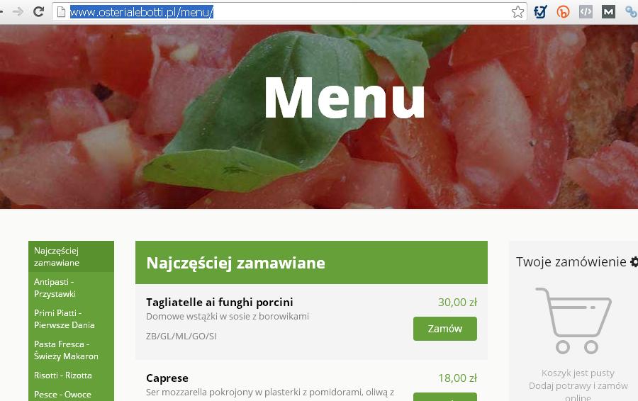 zamów jedzenie z Osteria le botti przez stronę www
